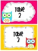 Owl theme Table Numbers 1-6