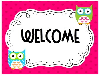 owl theme welcome sign by ecdc teacher teachers pay teachers. Black Bedroom Furniture Sets. Home Design Ideas