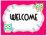 Owl theme Welcome Sign