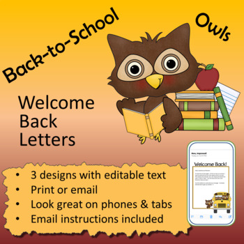 Owl theme - Welcome back letters