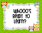 Owl theme Whooo's Ready to Learn-Colors