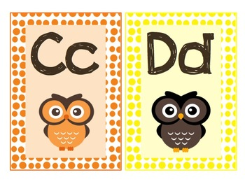 Owl theme letter cards A-Z - multicolor, polka dot
