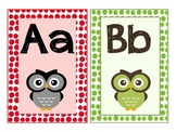 Owl theme letter cards A-Z - multicolor, polka dot