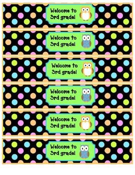 Owl theme water bottle wraps for Back to School