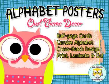 Owl-themed Cursive Alphabet Posters