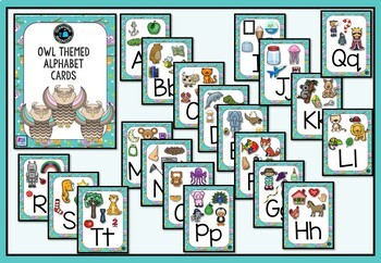 Owl themed Alphabet Posters with Pictures, Ideal for Bulletin Boards
