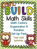 Owl themed B.U.I.L.D. Math Centers Organization & Rotation Set-Up Pack