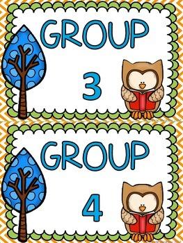 Owl themed B.U.I.L.D. Math Centers Organization & Rotation Set-Up Pack