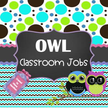 Owl themed Classroom Jobs ~ Editable~