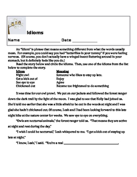 Owl themed Lesson about Idioms