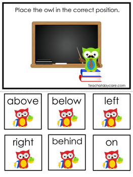 Owl themed Positional Game.  Printable Preschool Curriculum Game