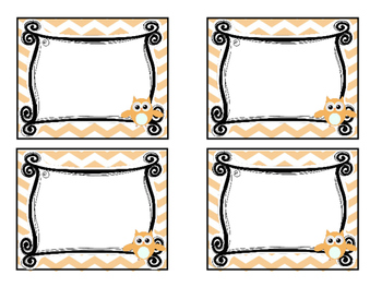 Owl themed Printable Blank Label Cards. Class Accessories.