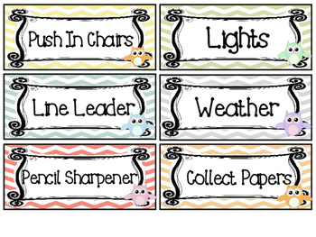 Owl themed Printable Class Jobs Labels Classroom Bulletin Board Set.