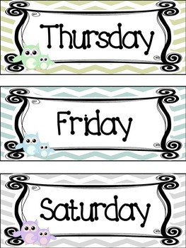Owl themed Printable Days of the Week Classroom Bulletin Board Set. Class A
