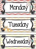 Owl themed Printable Days of the Week Classroom Bulletin Board Set. Class A