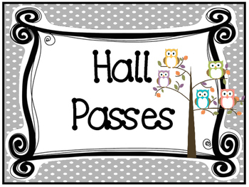 graphic relating to Hall Pass Printable named Owl themed Printable Corridor P Signal and Corridor Pes. Clroom Control.
