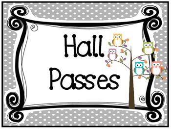 Owl themed Printable Hall Pass Sign and Hall Passes. Class