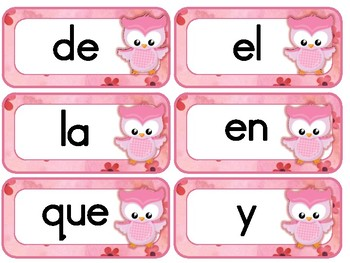 #flamingofriday Owl themed Spanish Sight Words