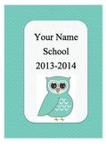 Editable Owl-themed Teacher Binder
