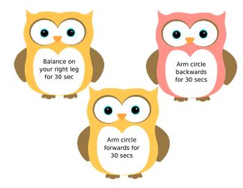 Owl themed brain breaks (editable)
