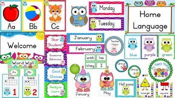 Owl themed classroom decor bundle