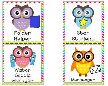 Owl themed classroom jobs
