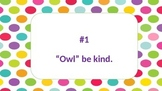 Owl themed classroom rules