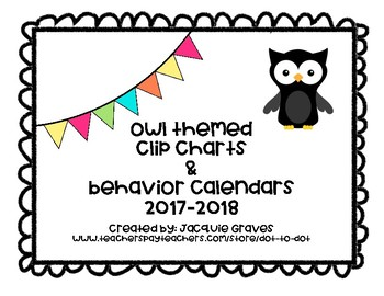 Owl themed clip chart and calendars