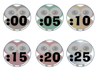 Owl themed clock minute hand labels