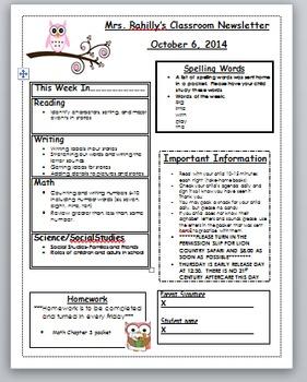 Owl themed editable weekly newsletter