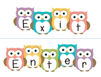Owl themed enter and exit signs