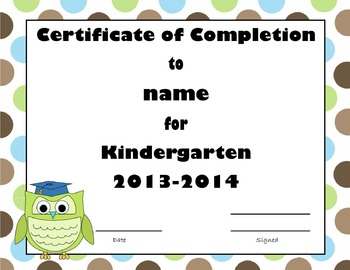 Owl themed graduation certificate