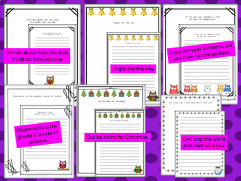 Owl-themed lined and unlined stationary