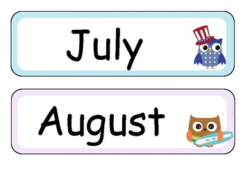 Owl themed months