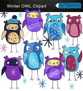Owl winter clipart