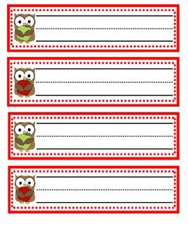 Owl/Apple Name Plates