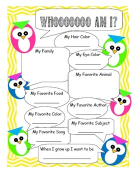 Owl/Chevron Beginning of Year Activities (English/Spanish)