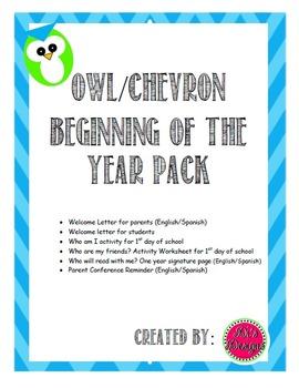 Owl/Chevron Beginning of Year Activities (English/Spanish)