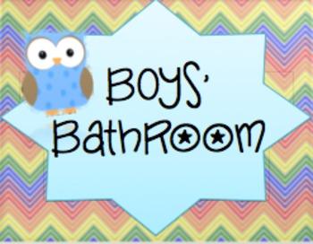 Owl/Chevron Themed Signs for Boys/Girls Bathroom