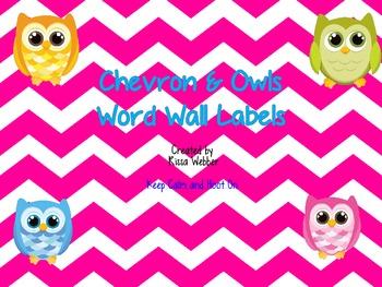 Owl/Chevron Word Wall Labels