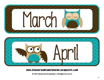 Owlicious Owl Calendar Set (Brown and Turquoise/Teal)