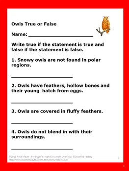 Owls True or False Task Cards