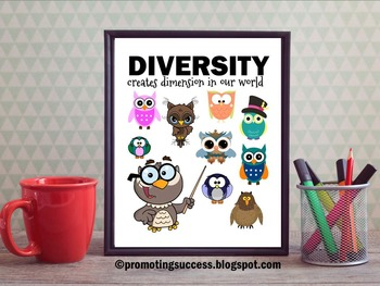 Diversity Quote Poster with Owls Classroom Decor ~ School Counselor Office Sign
