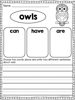 Owls - Literacy and Math Activities
