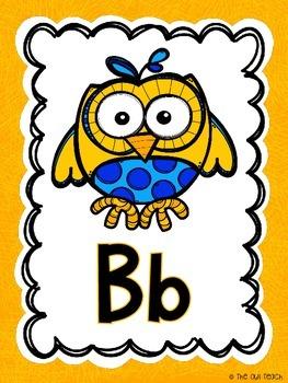 Owls Classroom Theme - Alphabet