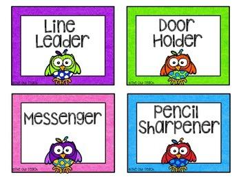 Owls Classroom Theme - Classroom Jobs