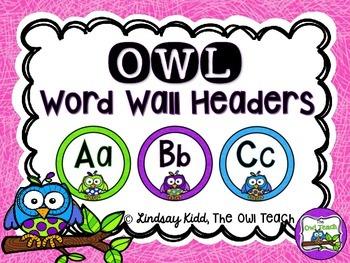 Owls Classroom Theme - Word Wall Headers