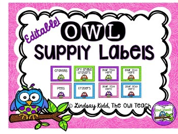 Owls Classroom Theme - Editable Supply Labels