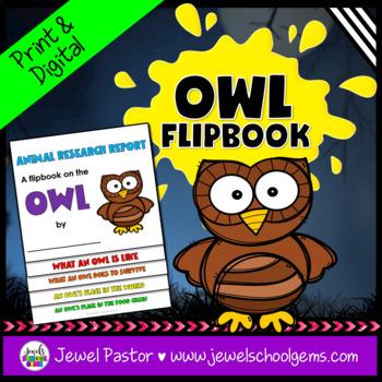 Science Halloween Activities (Owl Research Flipbook)