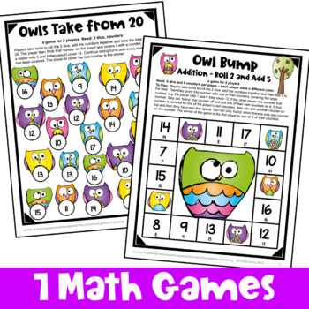 Owls Math Games: Owl Themed Addition and Subtraction Games